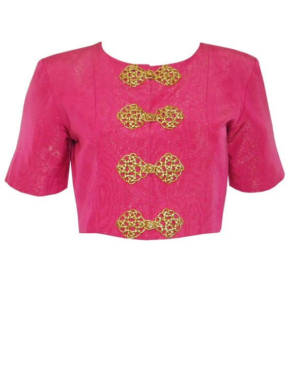 1990s Evening US Medium S Bolero Jacket S Yves Laurent Pink 1993 Saint Gold Moiré Size YSL Vintage 8 Cropped Passementerie qwa8avSfH