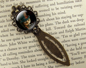 Steampunk Bookmark, Cat Bookmark, Gift for Cat Lover, Bronze Bookmark, Book Lover, Book Accessories, Ready Ship, Clip Bookmark, Tabby