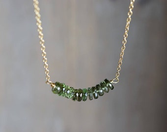Faceted Moldavite Row Necklace. Gold Fill Minimal Necklace. Moldavite Jewelry. Rare Moldavite Gold Necklace. Delicate Simple Gift for Mom