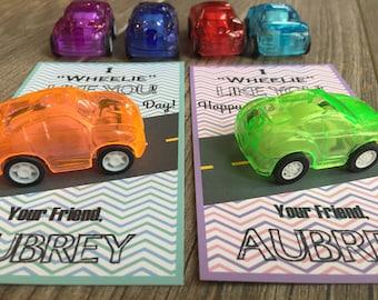 Kid Valentine-Valentine Card for Kid-Valentines Day-Kid Valentine for Class-Car Valentine-Wheelie Valentine-Pullback car Valentine-Preschool
