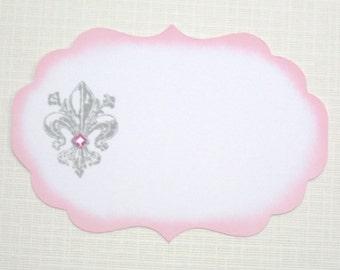 10 Paris Wedding Place Cards - Fleur de Lis Place Cards - Pink and Grey Wedding Place Cards -  Baby Shower - Bridal Shower