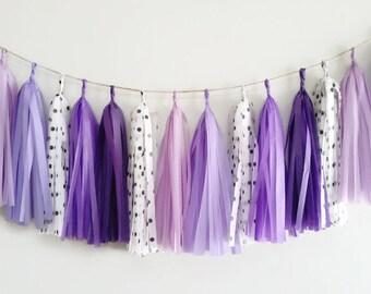 Tassel Garland,Polka dot tassel Garland,Purple garland,Polka dot Party garland,Purple tissue paper Garland,Purple fringe,Polka dots,Birthday