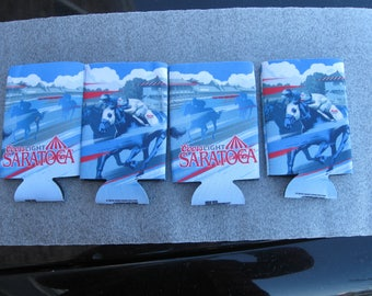 4 - four -Coors Saratoga Beer Cozy Racetrack advertising horse racing Vintage
