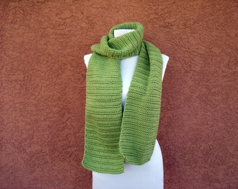 Scarf, Pistachio Green Scarf for Women or Men, Unisex Adults, Crochet, Crocheted Scarves, Long Soft Warm Scarf, Husband Gift MADE TO ORDER