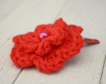 Crochet Flower Hair Clip in Red
