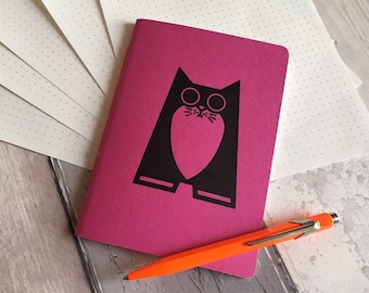 Pink Cat Notebook- small dotted grid journal - cat lover gift - hand-printed, hand-stitched