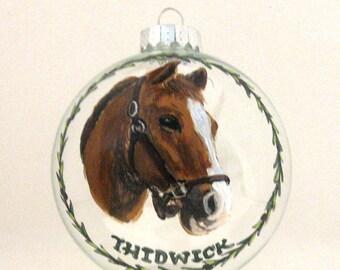 Custom Pet Portrait Paintings,Horse Painting, Christmas Ornament, Custom Pet Portrait, Horse Art, Pet Loss Memorial, Equestrian Art, Glass