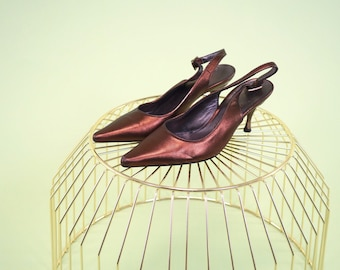Salvatore Ferragamo special find luminescent rust colored slingback mules with sharply pointed toe SIZE 6