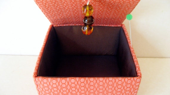 Orange fabric jewelry box keepsakes box or decorative storage