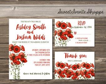 Red Poppy Wedding Invitation, Botanical Invitation, Poppies Wedding Invitation, Vintage Botanical Invitation Set, Wild Flowers Invitation