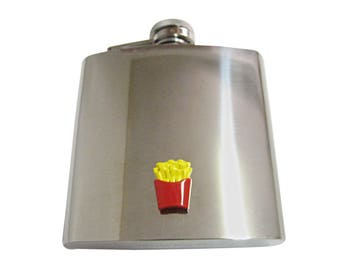 Colorful French Fry 6 oz. Stainless Steel Flask