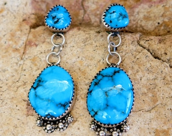 Turquoise Earrings by DORIS SMALLCANYON, NAVAJO, Signed, Sterling