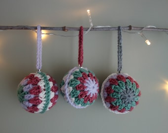 Set of 3 handmade crochet baubles