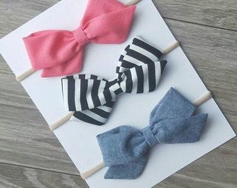 Coral sailor bow,  black striped sailor bow, chambray bow, fabric bows,
