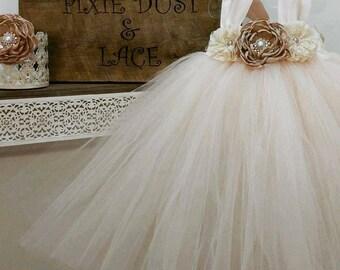 blush flower girl dress ,flower girl tutu dress,vintage flower girl dress,tulle flower girl dress,champagne flower girl dress, tulle dress