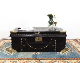 Beautiful Brass Studded Travel Trunk as Coffee Table