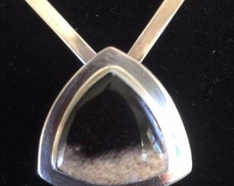 Petrified Wood and Sterling Silver Pendant