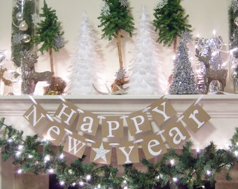 Happy New Year banner, Happy New Year garland,New Years party, New Years Decoration,Happy New Year prop, New Years Eve banner