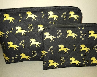 Gold Unicorn cosmetic bag and coin purse