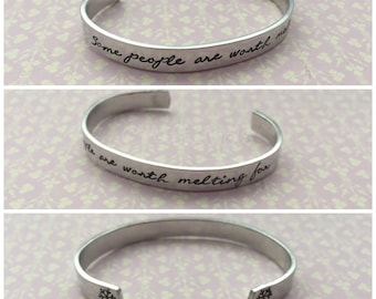 "Hand Stamped Cuff, ""some people are worth melting for""  with snowflakes, adults or junior size, can also be personlaised"