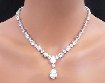 Rhinestone statement necklace set, Bridal statement necklace set, Wedding jewelry, Cubic ziroconia jewelry, Teardrop necklace, Bridal set