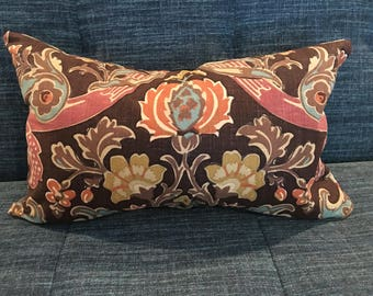 Brown, Red, Gold and Turquoise Custom Floral Pillow Cover / Designer Kravet Lutron Expresso / Handmade Home Decor Accent Pillows