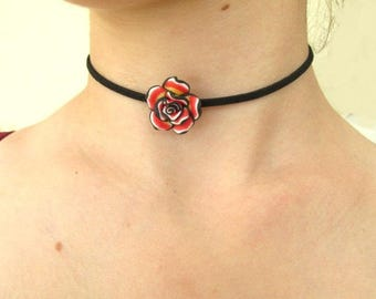 Polymer clay rose necklace leather choker necklace vegan grunge boho indie hippie goth steampunk Victorian style handmade fimo flower gift.