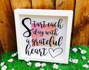 Motivational Quote Shadow Box Frame, Start Each Day