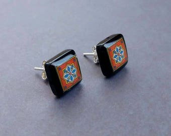 Black Onyx and Sterling Silver Post Earrings, Orange & Blue Spanish, Mexican, Catalina and Mediterranean Tile Inspired