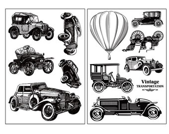 clear stamp set /clear stamps /planner Journal stamp/ vintage car/ retro/ Classic Car/old car/ ford