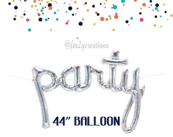 "PARTY Script Balloon | Silver PARTY Foil Balloon 44"" | Banner Balloons | Birthday Party Balloon | Silver Party Decor | Bachelorette Party"