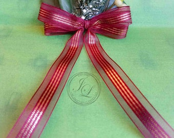 Red Holiday bow hair clip