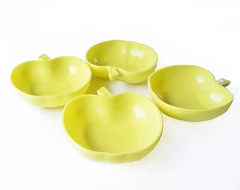 "Set of Four 1950s Hazel Atlas Milk Glass Apple Shaped Serving Bowl- Salad Bowls, Fruit Bowls, Cereal Bowls ""Granny Smith Green"""