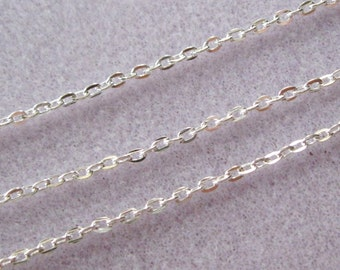 Bright Silver Plated Flat Oval Cross Link Chain 3mm x 2.2mm 381