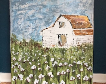 24x30 rustic barn and cotton field, traditional profile, gallery wrapped canvas