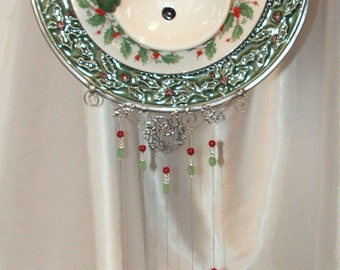 Happy Smiling Snowman, Holiday Holly, Windchime with Handmade Stained Glass Holly Chimes