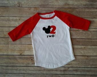 Boys Mickey Mouse Birthday Shirt, Birthday shirt, boys raglan top, Mickey birthday, 1st birthday, 2nd birthday, boys 3rd birthday shirt,