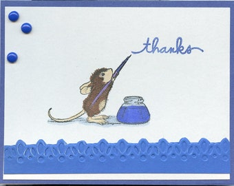 House Mouse writing 'thanks' Handmade Notecards (SET of 5)  #258