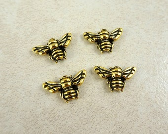 HoneyBee Beads - TierraCast Bee Bead - Antiqued Gold Bees (TC/5519-26) - 9.5x15.75mm - Qty. 4