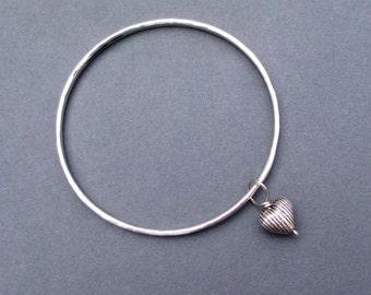 On Sale : Sterling Silver Bangle Bracelet with Sterling Silver Heart Charm Size Small Stack Bracelet Minimalist Girlfriend Jewelry