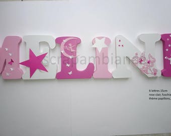 letter name wood letter home decor, kids baby, personalized wood, large letter, BUTTERFLIES, FAIRIES, stars