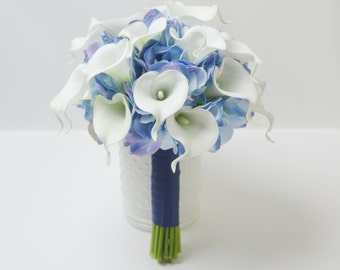 Wedding Bouquet, Bridal Bouquet - Silk Wedding Bouquet, Silk Flower Bouquet, Silk Flowers, Silk Bouquet, Bridal Bouquet, Calla Lily, Blue