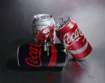 Coca cola cans, photorealism, acrylic painting, coca cola, art, home decor, modern, brand