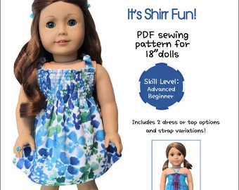 Pixie Faire Peppermintsticks It's Shirr Fun! Doll Clothes Pattern for 18 inch AG Dolls - PDF