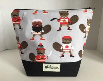 Knitting Project Bag, Wedge Bag, Zippered Bag, Sock Size, Hockey Beavers