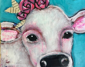 Cow mixed media original miniature painting on canvas