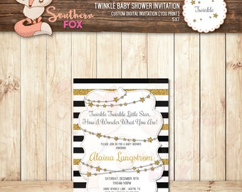 Twinkle, Twinkle Baby Shower Invitation -Digital Baby Shower Invitation 4x6- Twinkle Twinkle Star, Twinkle Baby Shower, Twinkle Little Star