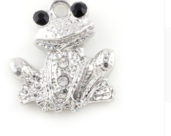 Sweet Silver Frog Charm - Clip on - Ready to Wear