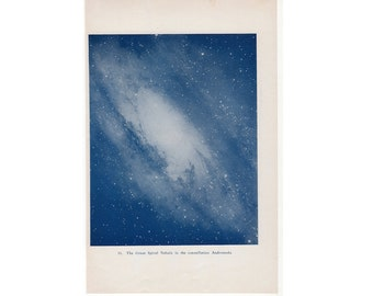 c. 1944 ANDROMEDA CONSTELLATION print - original vintage astronomy print - spiral nebula print - star galaxy print - blue lithograph