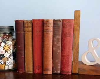 Great set of 6 Distressed Red Muted Vintage or Antique Books for Display and Decor Wedding Staging etc Some Collectible books Thelma a Padre